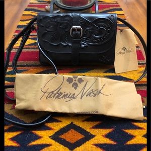 Patricia Nash Black Tooled Leather Crossbody-NWT